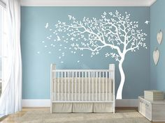 Wall Decals Baby Nursery Decor Vinyl Original Wall Decal - Shelving Tree Decal with Birds - Baby Room Art Decoration A(tree and line:White; Bird Nursery, White Nursery, Nursery Wall Decals, Wall Decal Sticker, Vinyl Decals, Wall Stickers, Baby Bedroom, Kids Bedroom, Deco Zen