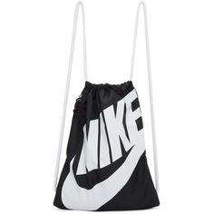 Nike Black Heritage Logo Gym Backpack ($16) ❤ liked on Polyvore featuring bags, backpacks, black, nylon bag, nike bags, nylon backpack, logo backpack and shoulder strap backpack