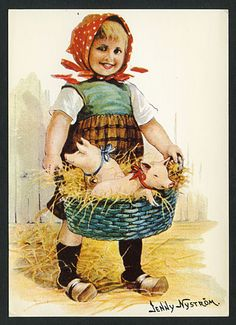 10636692 - Bluetenkind vermenschlicht Hahn Ostern AK Nystroem, J. Christmas Past, Vintage Christmas, Vintage Cards, Vintage Postcards, German Folk, Scandinavian Style, Vintage Children, Clip Art, Artist