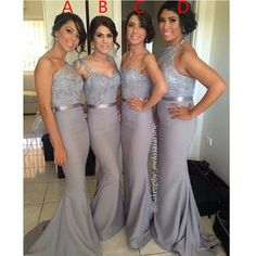 Discount Silver Grey Mermaid Bridesmaid Dress with Ribbon Beaded Lace Appliques Sweetheart Cap Sleeve Fitted Evening Gowns Women Party Dresses Long Online with $115.92/Piece on Seewedding's Store | DHgate.com
