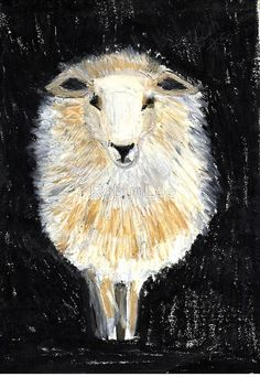 sheep on canvas 20 x 30. RobynLee at redbubble.com