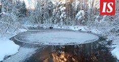 Suomen talvinen luonto osaa yllättää. Suonenjoella jokeen muodostui tammikuun alkupuolella ihmeellisen pyöreä jäälautta.