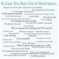 An amazing list of weight loss motivators :D  I'm going to make a jar filled with these, so when I'm having a bad day, I can just reach in and pull out some motivation.