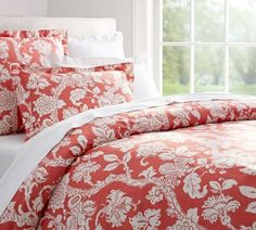 POTTERY-BARN-ROBYN-PALAMPORE-FULL-QUEEN-DUVET-2-STD-SHAMS-NEW-CORAL-ORGANIC