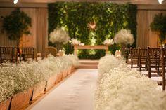 green wall, flanked by trees. backdrop for band? Church Wedding Decorations, Wedding Altars, Wedding Centerpieces, Wedding Bouquets, Wedding Flowers, Romantic Wedding Decor, Wedding Set Up, Wedding Art, Catholic Wedding