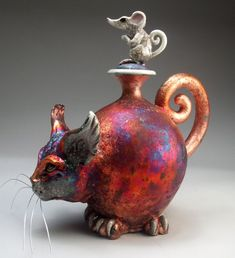 Cat and Mouse face jug pottery folk art raku sculpture by Mitchell Grafton Raku Pottery, Pottery Sculpture, Pottery Art, Sculpture Art, Kintsugi, Clay Cats, Advanced Ceramics, Clay Teapots, Native American Pottery