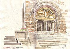 140718 Carennac Romanesque tympanum (Vincent Desplanche) Tags: france watercolor sketch aquarelle romanesque usk neocolor croquis carennac