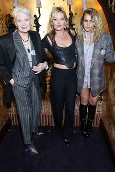 Vivienne, Kate Moss & Alice Dellal at the Vivienne Westwood & Another Man Psychedelic Unisex party. #VivienneWestwoodBespoke #AnotherMan10Years Picture: Darren Gerrish