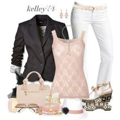 lace tank, white pants, & blazer
