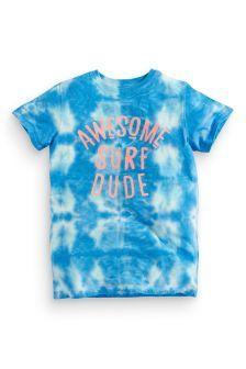 Blue Tie Dye Slogan T-Shirt (3-16yrs)