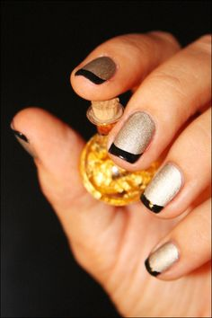 Gold and Black French Manicure