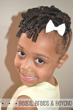 natural hairstyles for girls | Little Girls Natural Hairstyle: Flexi-rod Updo with Cornrows