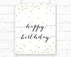 Printable Happy birthday sign typography quote by blursbyaiShop, .90