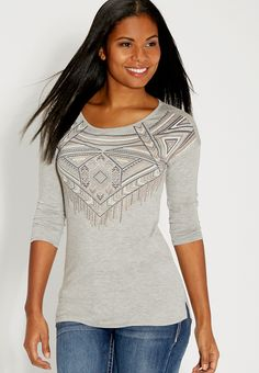 graphic tee in heathered fabric - #maurices
