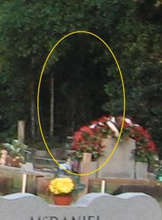 My name is Calvis Brahier, from Milton, Florida. I took these two photos of an apparition standing in the trees. I witnessed it and talked to it for 30 minutes, after which it faded away into the woods. At the time, I felt as though it was following me. I do feel like it resembles a reaper or wraith. I do have the negatives, and yes, the appariti