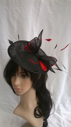 Black & red Fascinator..Stunning Fascinator .Sinamay and  Feather with  bow ,loops and coque Feathers