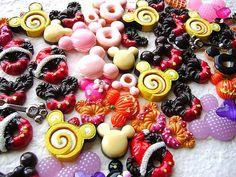 50 mickey mouse resin cabochons sweets mix pack 6 kawaii doughnuts cake waffle