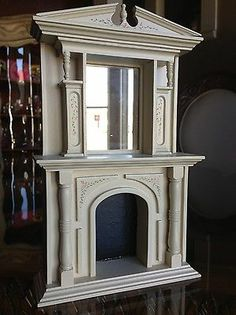 Hand painted Country French Inspired Fireplace Mantle for Miniature Doll House 1:12 Scale
