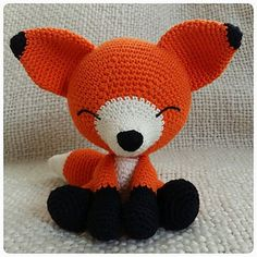 """Sleepy Fox by Eserehtanin (Nena) This is the pattern for my design """"The Sleepy Fox"""". It's an Amigurumi and as you may have predicted, you can use any yarn and colour you want. I use the yarn """"Tilda"""" from Svarta Fåret, and needle size 2,5. It's a thin yarn and using that with the mentioned needle will make the fox about 17 centimeters high (ears included)."""