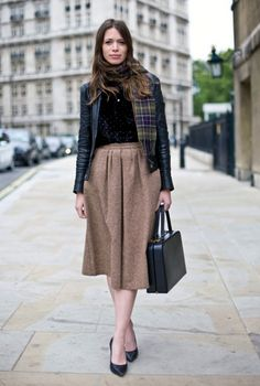 Full vintage skirt with a tough jacket - good combo