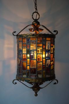 Large Monumental Stained Glass Lantern | From a unique collection of antique and modern lanterns at https://www.1stdibs.com/furniture/lighting/lanterns/