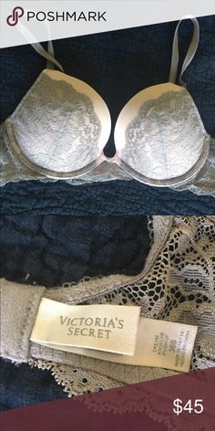 Victoria's Secret lace DreamAngel push-up - 36B Beautiful and silky-soft push-up bra - pale pink and grey. Lace band and lace detail on cups. Lightly worn, very good condition. 36B. Victoria's Secret Intimates & Sleepwear Bras