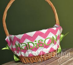 Personalized Easter Basket Liner  Pink Chevron by LeelynnCrafts, $26.00