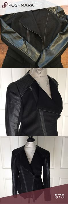 Faux Leather and Wool jacket Quilted Faux leather and wool jacket in great condition! The fit on this is incredible and really sexy. No one can tell that it's not real leather! Size S. Blank NYC Jackets & Coats