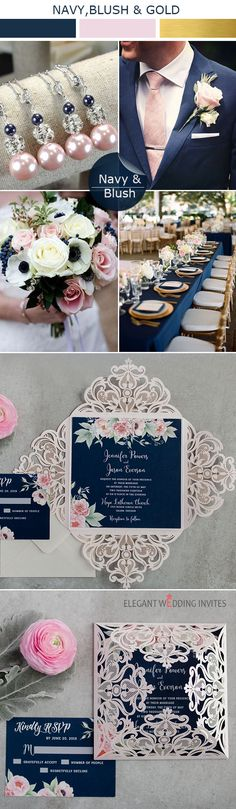 Use 'pin7' for 10% off your EWI orders! New navy and blush laser cut wedding invitations. #weddings #invitations #navy #elegantweddinginvites #weddingcolors
