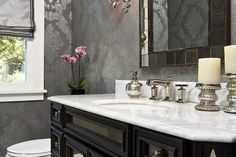 Classy Bathroom Chic Powder Room With Silver Accent Wallpaper Wall Lamp Tips