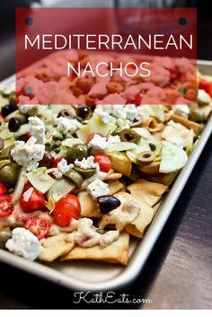 A new twist on typical nachos! // katheats.com #nachos #Mediterranean #recipe