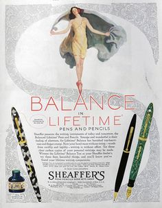 1929 Sheaffer's Fountain Pen Ad ~ Lifetime Balance