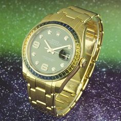 ⌚Sophisticated Sapphires⌚  #Rolex #Datejust ref. #86348SABLV in 18k yellow gold. Featuring a green dial with #diamond hour markers and diamond set 6 & 9. The real #star of the show is the bezel which is set with 48 baguette cut #sapphires that are arranged in a gradient of blue to green to yellow. Stunning to say the least!  In #unworn condition, all factory stickers still attached, complete with box and papers dated March 2016.