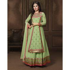Rimi Sen Green Georgette #Anarkali Suits With Dupatta- $43.46