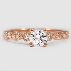 14K Rose Gold Tiara Diamond Ring // Set with a 0.48 Carat, Round, Very Good Cut, H Color, SI1 Clarity Diamond #BrilliantEarth