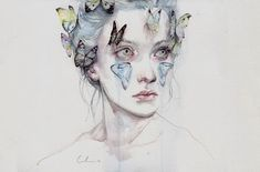 Agnes Cecile is the self taught artist behind this wonderful collection of watercolor portrait paintings. As well as watercolor she also uses acrylic, pen, ink and some Art And Illustration, Watercolor Portrait Painting, Watercolor Paintings, Portrait Paintings, Watercolors, Art Paintings, Pink Watercolor, Agnes Cecile, Art Plastique