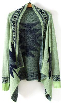 Green Geometric Asymmetrical Cardigan