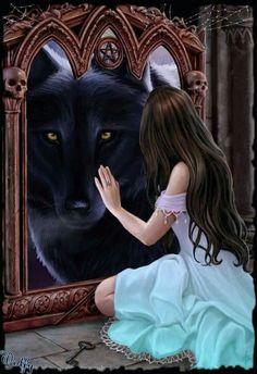 Wolf and familiar Dark Fantasy Art, Fantasy Wolf, Beautiful Fantasy Art, Fantasy Girl, Fantasy Artwork, Wolves And Women, Wolf Artwork, Wolf Spirit Animal, Wolf Love