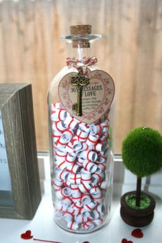 Valentines Day .. 365 Messages Of LOVE.  Handmade gifts of Love.  Message in a Bottle