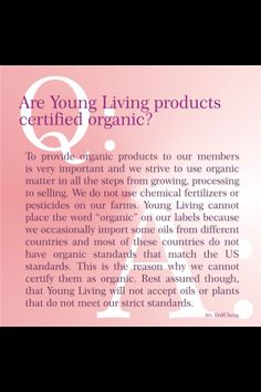 Are young living products organic?
