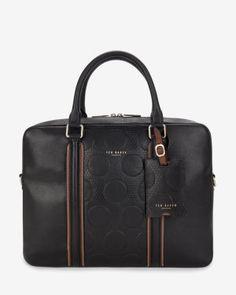 Embossed leather satchel