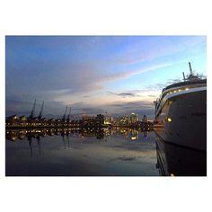 Goodnight London Docklands! Tomorrow I move to #Bromley - sad to say goodbye to this beautiful part of the world's greatest city. #London #Docklands #EastEnd #RoyalVictoriaDock #Dock #RoyalDocks #Sunset #Thunder #Lightning #Sunborn #CruiseShip #Yacht #Water #City #LDN #CanaryWharf #Theo2