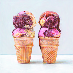 "Joel Penkman ""Ice Creams egg tempera on gesso board, x x Joel Penkman, Food Art Painting, Cake Painting, Ice Cream Art, Watercolor Food, Watercolour, Food Artists, Realistic Paintings, Food Drawing"