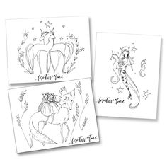 Three black and white coloring pages by Joti Marra Ramsey for Forest Creature. Fox King / Mermaid