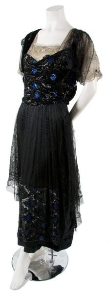 A black tulle, lace, velvet and blue and black sequin dress, 1910's.