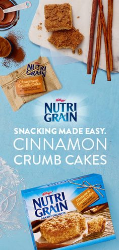 Sweet and Simple Crumb Cake - You already have a million things to do, so why worry about a million ingredients to purchase? All you need to indulge in bakery-inspired taste is a box of Nutri-Grain Bakery Delights. With whole grains and sweet cinnamon taste, the perfect snack for the whole family has never been easier. That's the way our crumb cakes crumble.
