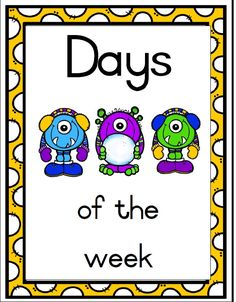 monster days of the week - Teacha! Monster School, Poster Colour, School Posters, Afrikaans, Poster On, Pre School, Projects To Try, Van, Teaching