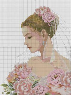0 point de croix portrait de mariée - cross stitch bride