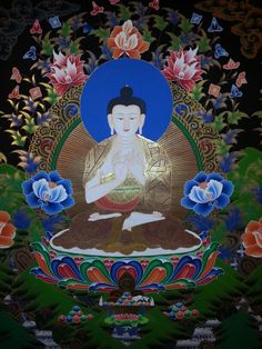Medicine Buddha Thangka Painting from Nepal.