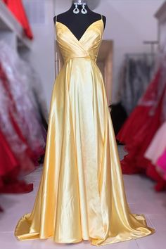 straps yellow long prom dress with wrap front – Simplepromdress Straps Prom Dresses, Prom Dress Stores, Formal Gowns, Dress Formal, Dress For You, Beautiful Dresses, Elegant Dresses, Girls Dresses, Women's Dresses
